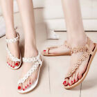 Thong Flower Sandals Bohemia Peep Toe Flats Women Summer Beach Fashion Shoes New