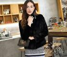 Natural fur coat stand collar women fashion black color jacket Outwear Winter