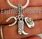 Best Cowboy Boots For Women - Cowboy boot Hat, horseshoe, cowgirl charm pendant For Review