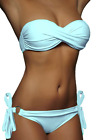 DAMEN PUSH UP TWIST BIKINI HELLBLAU BLAU TOP + HOSE SET Gr. XS S M NEU!