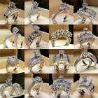 Women Men Crystal Rhinestones Silver Ring Set Wedding Jewelry Gift Size 6-10