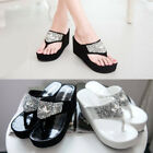 Women Rhinestone Platform Flip Flops Wedge Sandals High Heel Fashion Beach Shoes