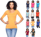 Women's Basic Seamless Stretch Scoop Neck 3/4 Sleeve Fitted Top T-Shirt Solids