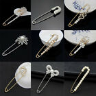 Crystal Rhinestone Pearl Sweater Brooch Collar Suit Scarf Safety Pin For Corsage