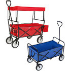 Folding Canopy Utility Wagon Cart Kid Collapsible Camping Trolley Garden Utility