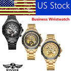 WINNER Men Automatic Mechanical Wristwatch Big Dial Business Hollowed-Out W5C4 image