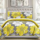 Twin Full Queen King Yellow Gray White Floral 3 pc Quilt Coverlet Set Bedding image