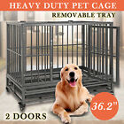 "36""42""Large Heavy Duty Metal Dog Crate Pet Kennel Cage Playpen W/Tray & Wheels"