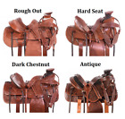 Western Saddle 16 17 in Wade Tree Roping Ranch Work Trail Horse Tack Set