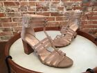 Sole Society Elise Taupe Suede Gladiator Block Heel Sandals NEW