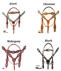 Show Bridle Headstall Reins Breast Collar Horse Blue Turquoise Crystal Tack Set