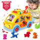 ACTRINIC Baby Toys 6-12 Months Musical Shape Sorting Bump & Go Action Bus Puzzle