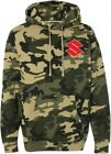 Factory Effex Suzuki Mens Pullover Hoodie Camo/Green/Red