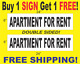 "APARTMENT FOR RENT Black & White 6""x24"" 2 Sided REAL ESTATE RIDER SIGNS 1 FREE photo"