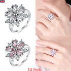 Uk Womens Crystal Zircon Floral Ring Wedding Engagement Jewellery Ring Band Gift