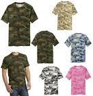 MEN'S CAMO, CAMOUFLAGE T-SHIRT, 100% COTTON MID-WEIGHT, SHORT SLEEVE, CREW S-4XL