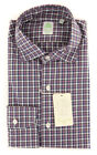 New $375 Finamore Napoli Purple Check Shirt - Extra Slim - (2018031312)