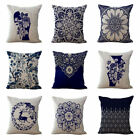 "18"" Cotton Linen Car Bed Decor Chinese Stytle Waist Cushion Throw Pillow Cover image"