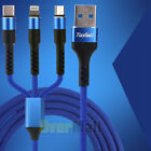 Multi 3 in 1 Fast Charger Charging Cable Cord Micro USB/8 Pin Port/Type C iPhone