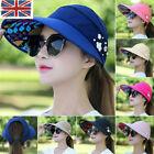 UK New Women Visor Hat Summer Sun Beach Ladies Foldable Roll Up Wide Brim Cap