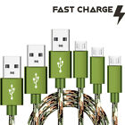 3 Pack CAMO Tactical 4,6,10ft Micro USB FAST Charging Cable for ZTE Smartphones