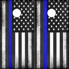 Police Flag Cornhole Wraps Thin Blue Line Vinyl Decals 2 pack Mk003CB