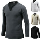 Mens Slim Fit Stylish Henley V Neck Long Sleeve Tee T-shirt Top Blouse B02 S-XL