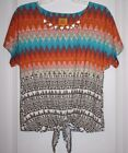 NWT Ruby Rd. Women's Ladies Top with Bead Accents, Tie Front -Small