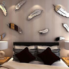 8pcs Modern Feather Acrylic Mirror Removeable Wall Art Sticker Home Decor