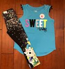 NWT JUSTICE Girls 8 10 Ruched Sleeve Tee  Crop Unicorn Treat Leggings Outfit