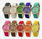 NEW Roman Numeral Women Leather Stainless Steel Quartz Analog Wrist Watch image