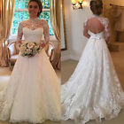 Women's White Wedding Dresses Full Lace Long Sleeve Dress Backless Bridal Gowns
