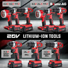 Baumr-AG 20V Cordless Power Drill Hammer Impact Driver Tool Electric Battery Set