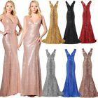 Women's Sequins Evening Formal Prom Mermaid Gown Plus Long Bridesmaid Maxi Dress