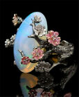 925 Silver Fire Opal Flower Two Tone Gold Wedding Jewelry Engagement Ring Sz6-10 image