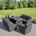Rattan Garden Dining Table Furniture Patio Set 8 Seat Sofa Black Grey Brown