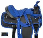 """USED COMFY BLUE WESTERN PLEASURE TRAIL SYNTHETIC HORSE SADDLE LIGHT WEIGHT 16"""""""