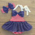 NEW 4th of July Patriotic Americana Skirted Swimsuit Headband Outfit Set