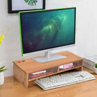 Computer Monitor Riser TV Stand Desktop Laptop Stands Wood With 2 Drawers