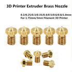 5/10X Extruder Nozzle 0.2/0.3/0.4/0.5-1.0mm M6 Thread 1.75/3mm For 3D Printer