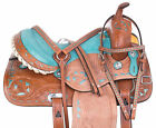 Classic Barrel Trail Turqouoise Leather Western Horse Saddle Tack Used 14 in