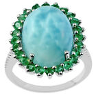 Larimar 11.24 Ct. Amazing Emerald Ring Solid Gold Women Engagement Event Jewelry