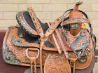 """USED 15"""" SILVER HAND CARVED PREMIUM WESTERN SHOW LEATHER HORSE SADDLE TACK SET"""