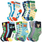 5-Pack Cotton Colorful Novelty Animals/Car/Sports/Sea Crew Socks Toddler Kids