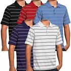 Antigua Golf Mens Deluxe Striped Performance Golf Polo Shirt