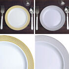 """Plastic 8"""" White Checkered Trimmed Plastic Plates for Salad Dishes Disposable"""