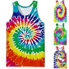 Tie Dye 3D Print Mens Gym Muscle Vest Fitness Tank Top Casual Sleeveless T Shirt