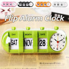 Retro Vintage Style Calendar Flip Alarm Clock Day & Date Display Battery   New