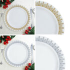 "Plastic 9"" White Ornament Trimmed Plastic Plates for Lunch Dishes Disposable"
