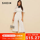 SHEIN Office Lady Bow Detail Lace Bodice Ruffle Foldover Wide Leg Jumpsuit